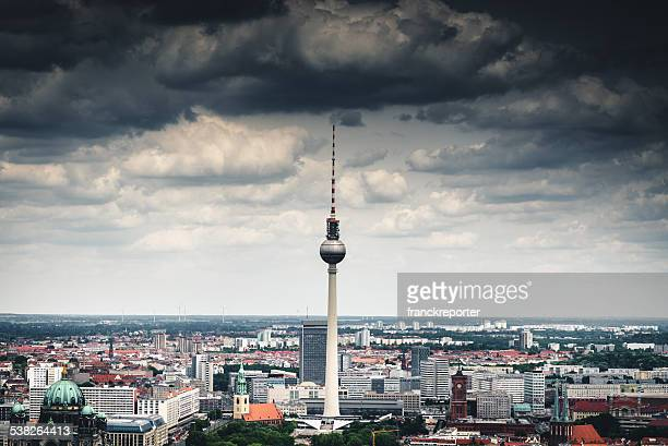 Aerial view of Berlin with Alexanderplatz tv tower - Germany