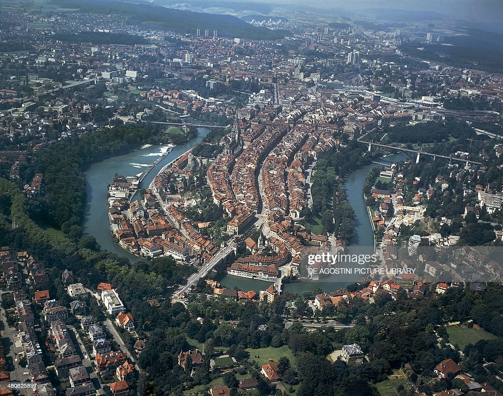 Aerial view of Bern Canton of Bern Switzerland
