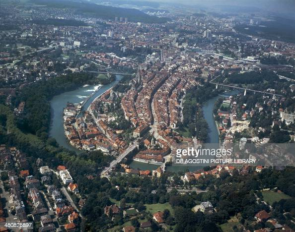 Aerial view of Bern Canton of Bern Switzerland