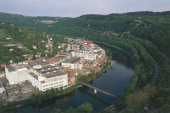 Aerial view of Besancon and loop of the Doubs river FrancheComte' France