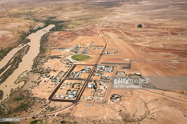 Aerial view of Birdsville, QLD, Australia