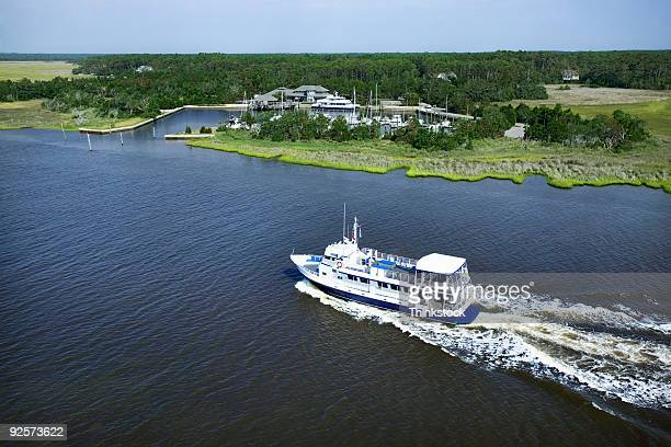 Aerial view of boat near shore, Bald Head Island, North Carolina