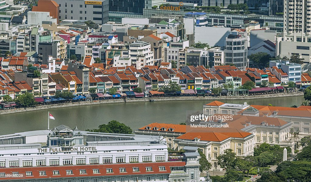 Aerial view of Boat Quay : Stock Photo