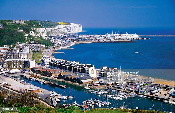 Aerial view of boats docked at a harbor, Dover, England