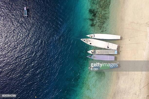 Aerial view of boats on beach, Gili Trawangan, Lombok, Indonesia
