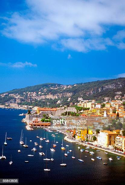 Aerial view of boats sailing in the sea, Villefranche-Sur-Mer, French Riviera, France
