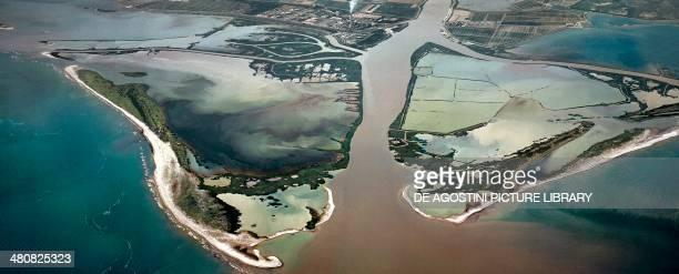 Aerial view of Bocche di Po Nature Reserve Bocche di Po della Pila Province of Rovigo Veneto Region Italy