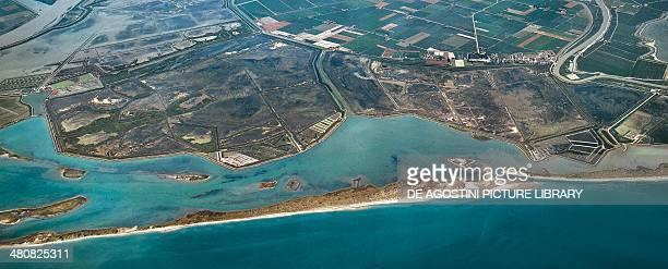 Aerial view of Bocche di Po Nature Reserve Province of Rovigo Veneto Region Italy