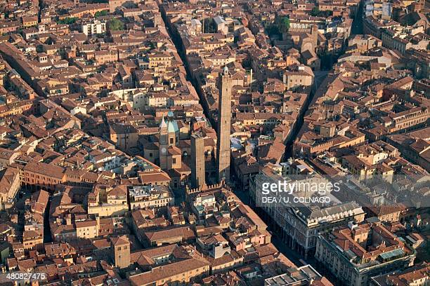 Aerial view of Bologna and its towers Emilia Romagna Region Italy