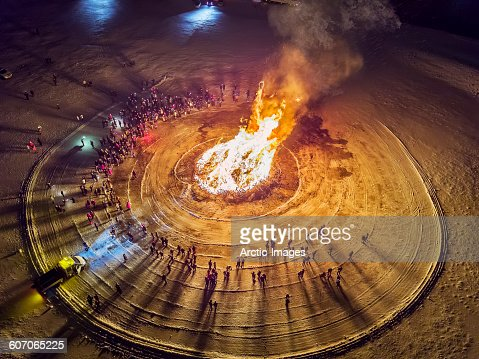 Aerial view of Bonfire, Reykjavik, Iceland : Stock Photo