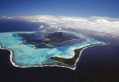 Aerial view of Bora Bora Society Islands French Polynesia Overseas Territory of France