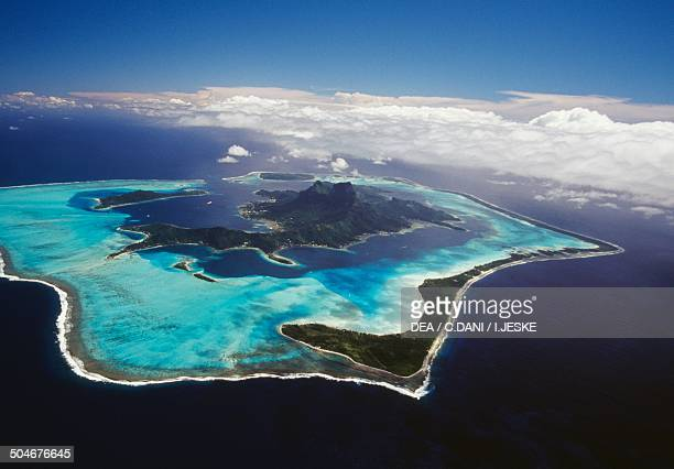 Aerial view of Bora Bora Society Islands French Polynesia Overseas Territory of France