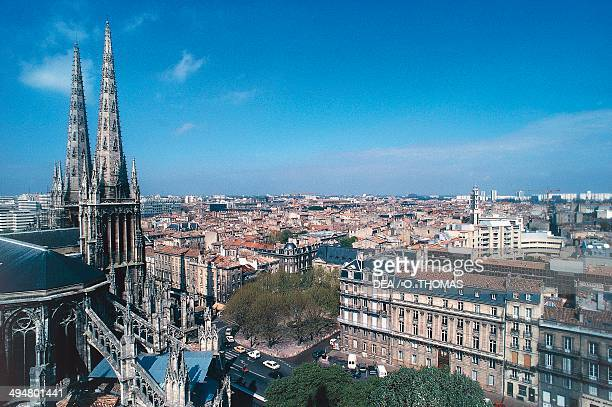 Aerial view of Bordeaux with Cathedral Aquitaine France