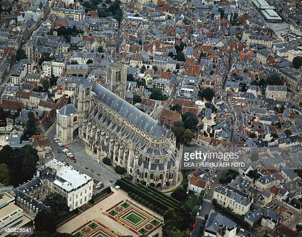 Aerial view of Bourges with Saint Etienne cathedral Centre region France