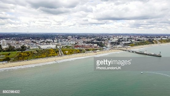 Aerial View Of Bournemouth City and Beach in England : Stock Photo