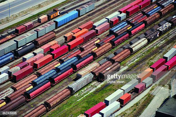 Aerial view of box cars