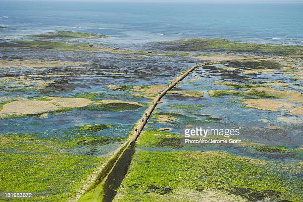 Aerial view of breakwater, Ile de RŽ, Charente-Maritime, France