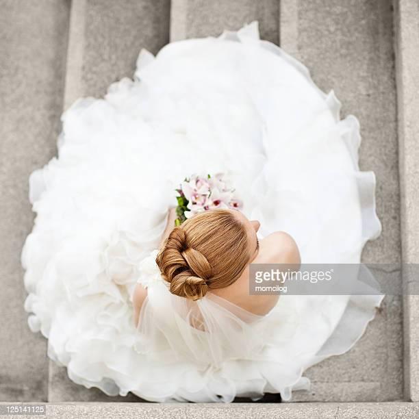 Aerial view of bride in wedding dress