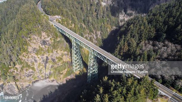 Aerial View Of Bridge Amidst Trees And Mountains