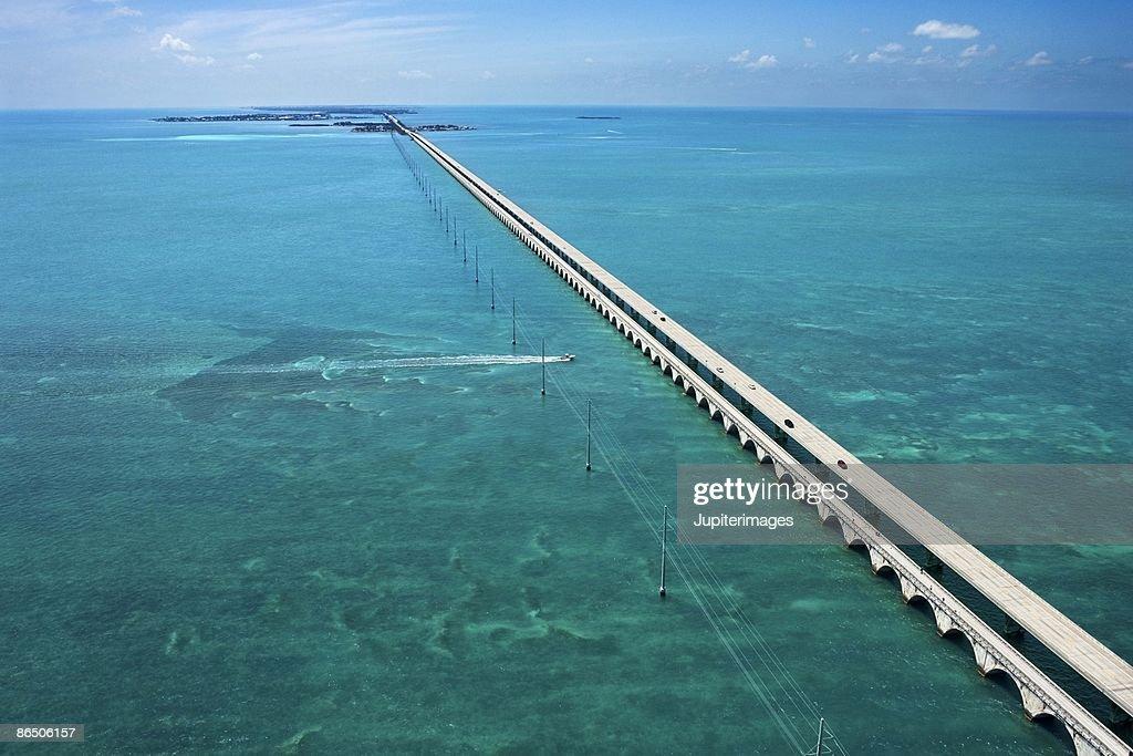 Aerial view of bridge at sea in Florida Keys
