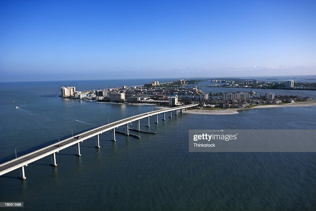 Aerial view of bridge by Gulf of Mexico, Clearwater, Florida