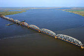 Aerial view of bridge over Mississippi River, Rigolets, Louisiana