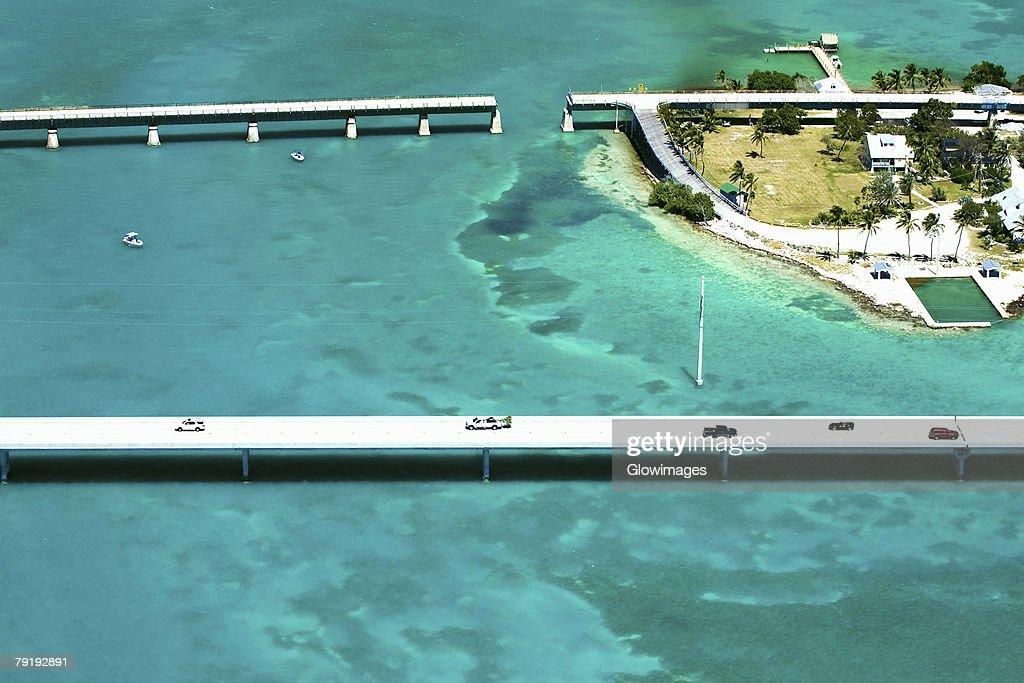 Aerial view of bridges over the sea, Florida Keys, Florida, USA : Foto de stock