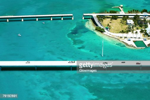 Aerial view of bridges over the sea, Florida Keys, Florida, USA : Foto de stock