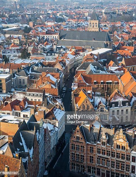 Aerial View of Bruges under snow, Belgium