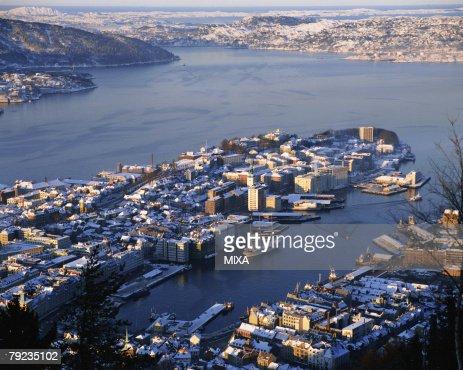Aerial view of Bryggen, Bergen, Norway : Stock Photo