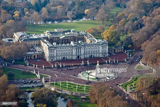 Aerial view of Buckingham Palace in London