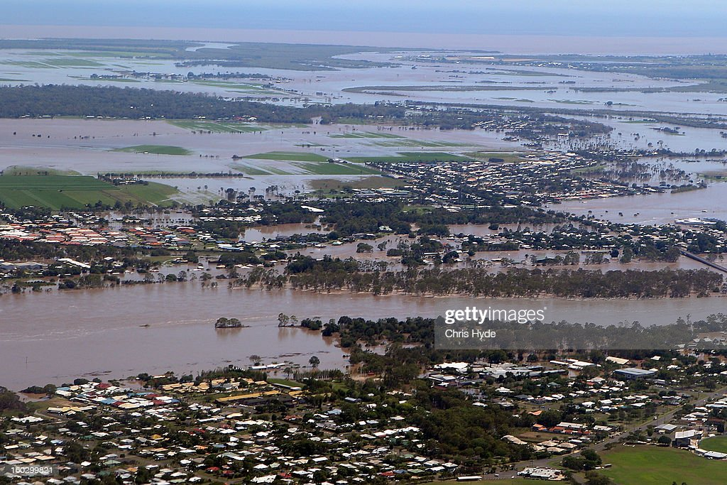 Aerial view of Bundaberg shows flooding as parts of southern Queensland experiences record flooding in the wake of Tropical Cyclone Oswald on January 29, 2013 in Bundaberg, Australia.Four deaths have been confirmed and thousands have been evacuated in Bundaberg as the city faces it's worst flood disaster in history. Rescue and evacuation missions continue today as emergency services prepare to move patients from Bundaberg Hospital to Brisbane amid fears the hospital could lose power.