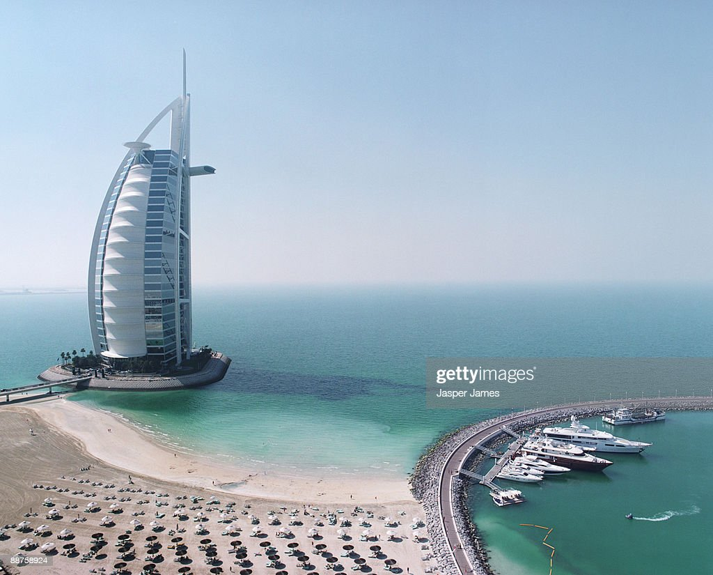 Aerial view of burj al arab hotel dubai stock photo for Al arab hotel