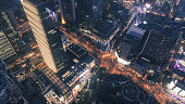 aerial view of business area in Nangjing Rd, Shanghai, China, at night