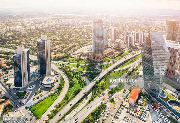 Aerial view of Business District of Istanbul, Turkey