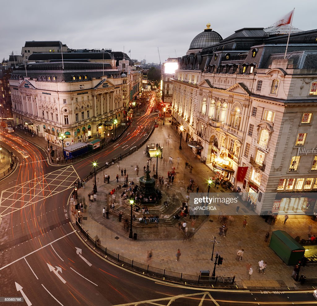A aerial view of bustling Piccadilly Circus.