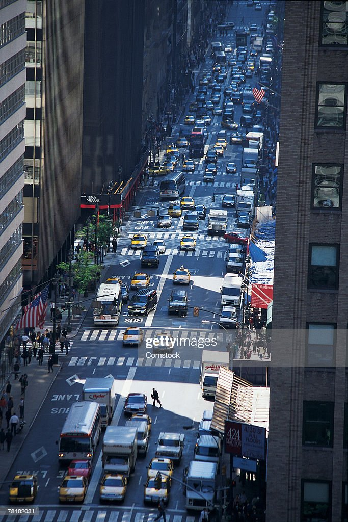 Aerial view of busy city street : Stock Photo
