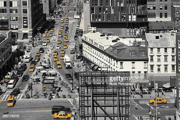 Aerial view of busy crossroad in Manhattan