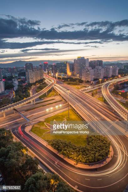 Aerial View of Busy Road Intersection in Beijing at Dusk