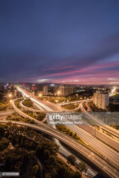 Vue aérienne de l'Intersection de la route très fréquentée à Beijing
