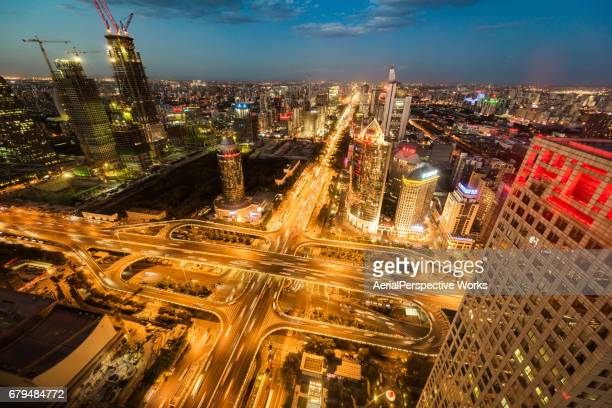 Aerial View of Busy Road Intersection, Night