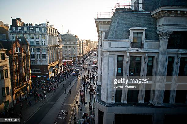 Aerial view of busy street, Oxford Circus, London