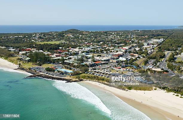 Aerial view of Byron Bay city, NSW, Australia