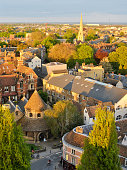 View of the city centre of Cambridge (UK) as seen from the bell tower of a church.
