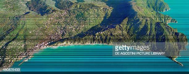 Aerial view of Camogli Province of Genoa Liguria Region Italy