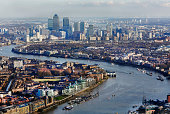 Aerial view of Canary Wharf and East London