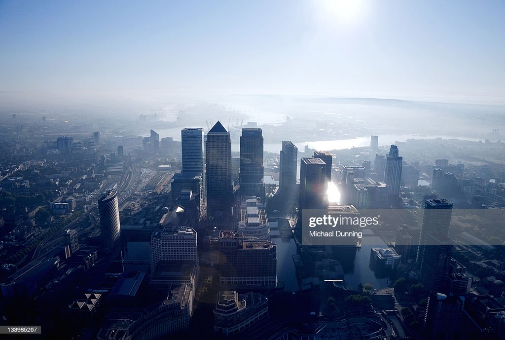 Aerial View of Canary Wharf at Dawn : Stock Photo