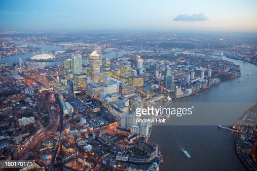 Aerial view of Canary Wharf, London : Stock Photo