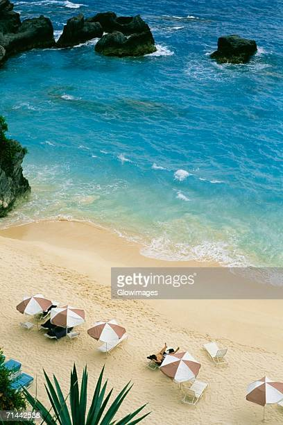 Aerial view of canopies on a beach, Bermuda
