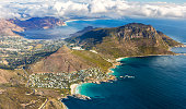 Overall aerial view of Cape Peninsula, South Africa from the helicopter. View to the Cape of Good Hope.